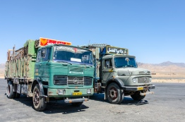 Old Mercedes trucks in Iran