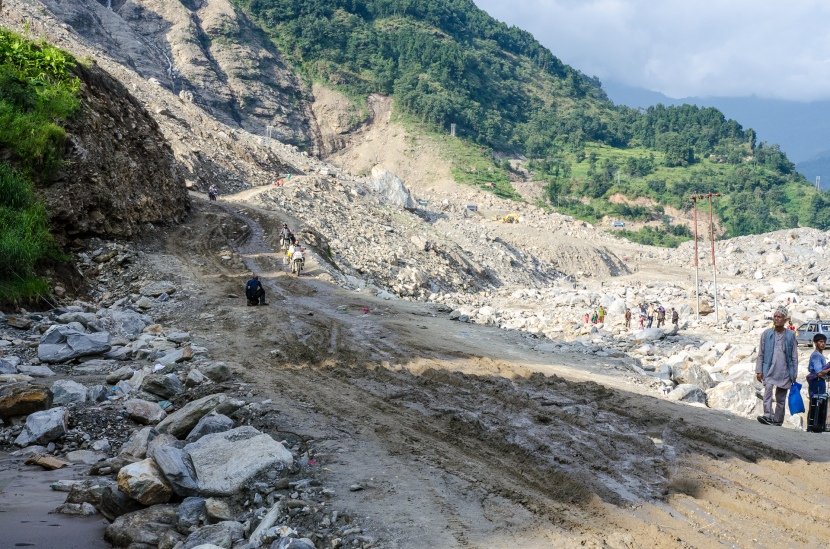 Along the way: The Nepalese landslide.