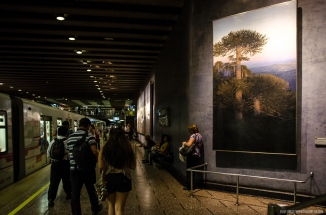 Santiago de Chile Metro Art, landscape paintings at La Moneda